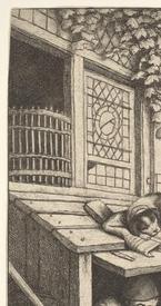 Адриан ван Остаде, Башмачник, Фрагмент  «Крыша будки»