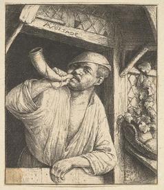 Адриан ван Остаде, Пекарь, 10х9 см, Метрополитен музей, Нью-Йорк, США.