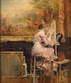 Паскаль Даньян-Бувре, Молодая акварелистка в Лувре, 1889, 35х30 см, Эрмитаж, Петербург, Россия