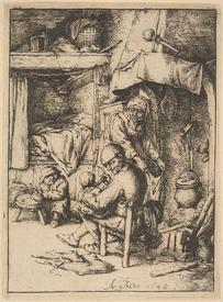 Адриан ван Остаде, Отец кормит ребенка, 13х10 см, 1648, Метрополитен музей, Нью-Йорк, США