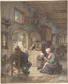 Адриан ван Остаде, Чтение письма в доме ткача, 1673,  24х20 см, Метрополитен музей, Нью-Йорк, США