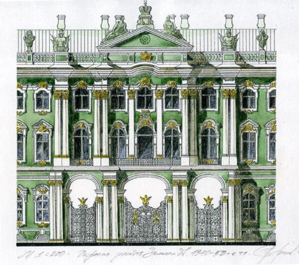 Окраска фасадов Зимнего дворца начиная с 1940-х гг.