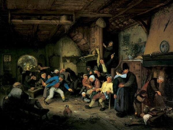 Адриан ван Остаде, Крестьянские танцы в кабачке, 1659