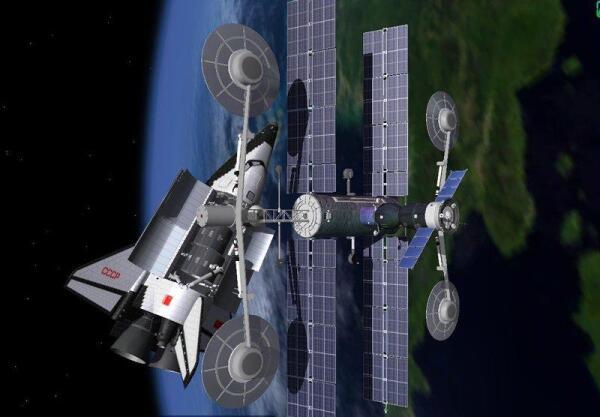 Орбитальный комплекс с пристыкованными Союзом и орбитальным самолетом МАКС. Проект
