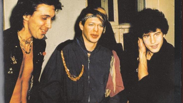Слева направо: участники АКВАРИУМА - Сергей Курёхин, Борис Гребенщиков и Петр Трощенков