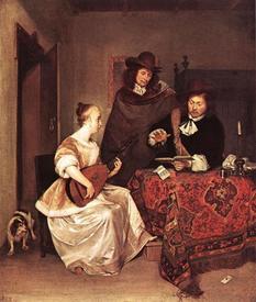 Герард Терборх, Лютнистка играет для двух мужчин, 1667, 68х67 см, National Gallery, Лондон, Англия