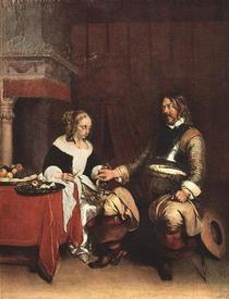 Герард Терборх, Офицер предлагает деньги девушке, 1662,  67x55 см, Лувр, Париж, Франция