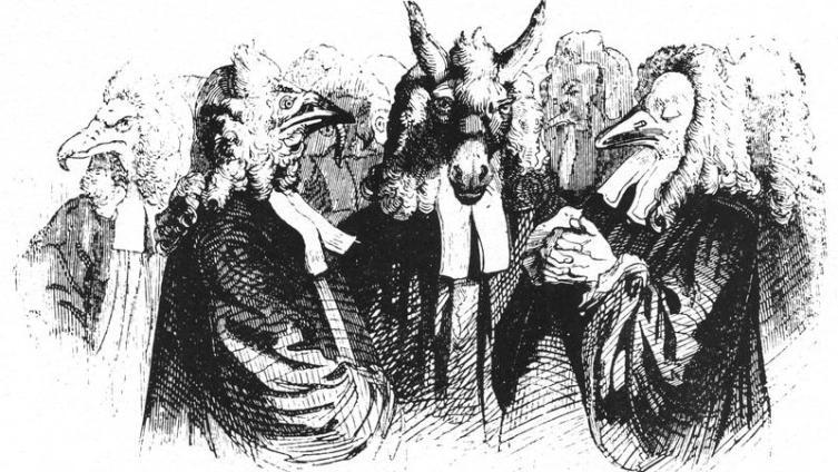 Адвокаты и судьи. Рисунок Жана Гранвиля (1838)