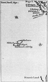 Карта Лилипутии из издания 1726 года