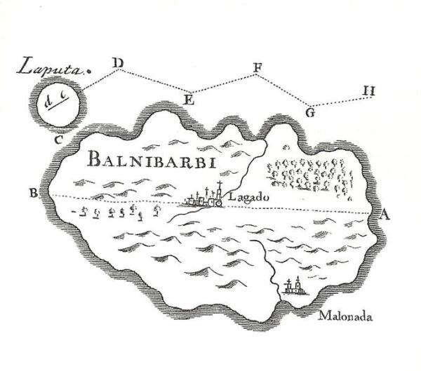 По описанию Свифта, Лапута и подвластный ей континент Бальнибарби располагаются в Тихом океане, где-то южнее Алеутских островов.