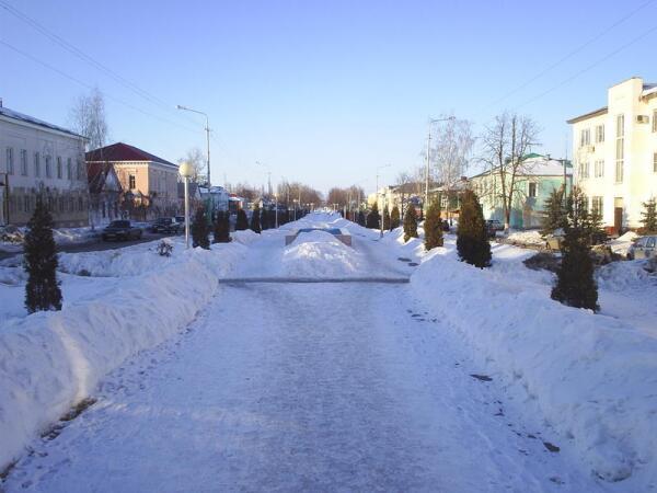 Пешеходная аллея в центре Усмани