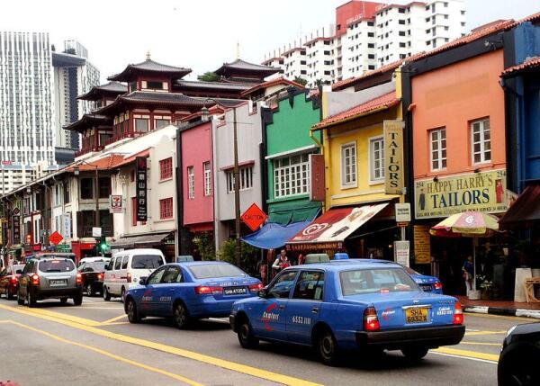 Разноцветные домики в китайском квартале