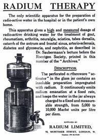 Из истории: прибор для получения радиоактивной питьевой воды, реклама 1913 года