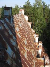 Двухскатная клинчатая крышей над средним нефом. Оцинкованное железо