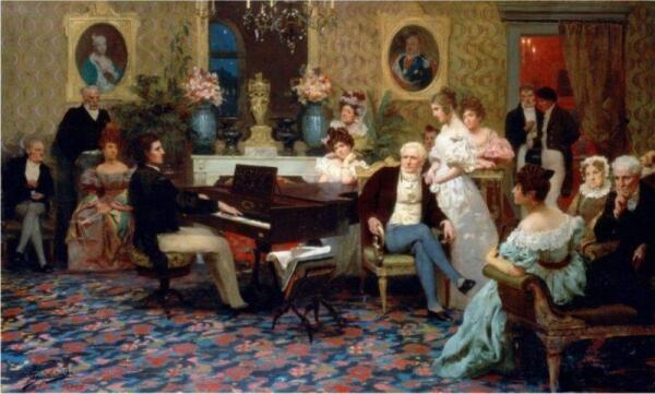 Шопен в салоне Радзивиллов в 1829 году. Масло на холсте, 1887 г.