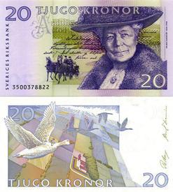 В 1991 году портреты Лагерлёф и её героев стали украшать банкноту номиналом 20 шведских крон