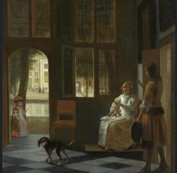 Man Hanging a Letter to Woman in the Entrance Hall of a House, Rijksmuseum, Амстердам, Нидерланды