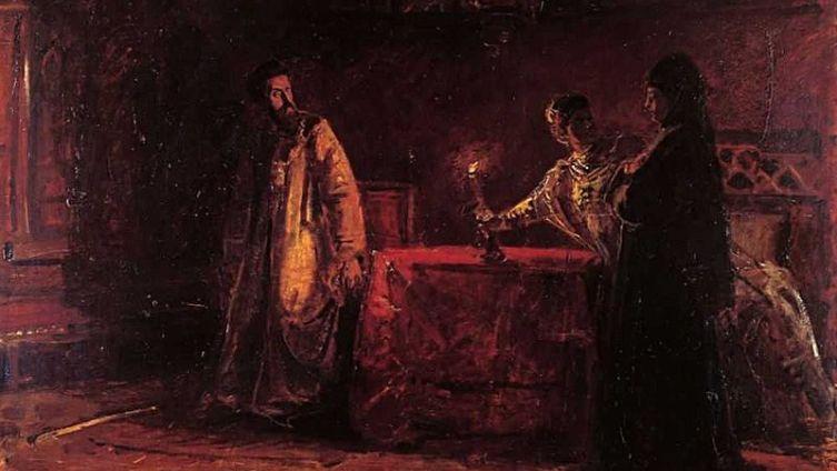 Николай Ге, «Царь Борис и царица Марфа», эскиз, 1874 г.