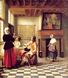 A Woman Drinking with Two Men and a Serving Woman, 1658, 73x64 cm, National Gallery, Лондон, Англия