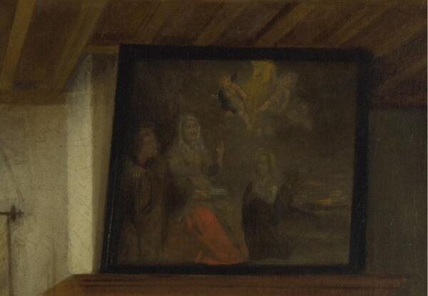 A Woman Drinking with Two Men and a Serving Woman, фрагмент «Картина»