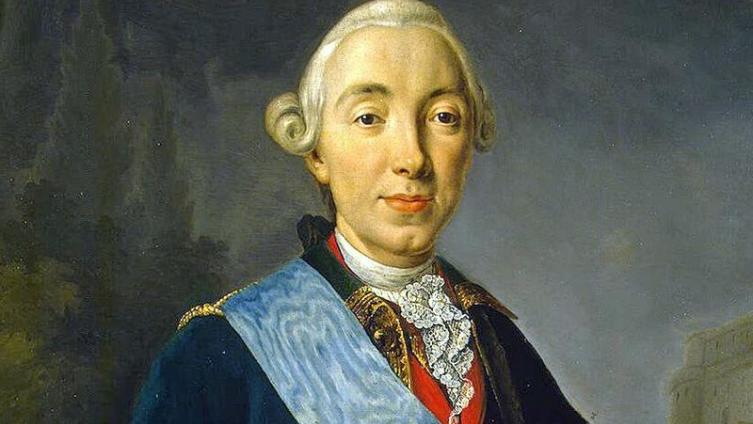 Коронационный портрет императора Петра III Фёдоровича работы Л. К. Пфанцельта (фрагмент)