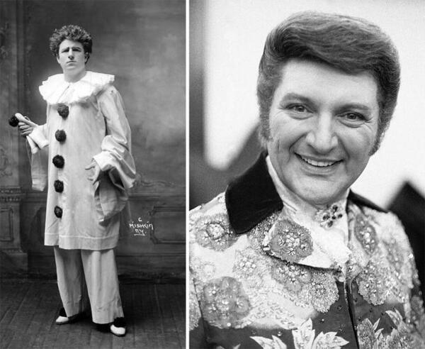 Слева - герой оперы «Паяцы» (итал. Pagliacci), справа - артист Владзи Валентино Либераче