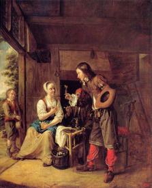 «Мужчина предлагает бокал вина», 71х59 см, 1654  Эрмитаж, Петербург, Россия