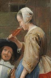 Питер де Хох, «Голландский дворик», фрагмент «Мензурка»