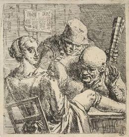 Marcellus Laroon, Сцена в борделе, два крестьянина заглядывают под юбку, 1675-1700,Museum van Boijmans Beuningen, Роттердам, Нидерланды