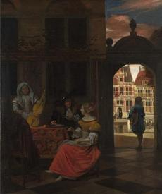 Музыкальный вечер во дворе, 84х69 см, 1677, The National Gallery, Лондон, Англия