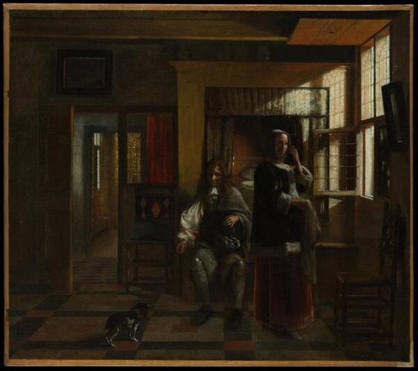 Молодая пара в интерьере, 55х63 см, 1662, Метрополитен музей, Нью-Йорк, США