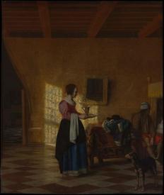 Женщина с кувшином воды и мужчина у кровати (Служанка), 62х52 см, 1670, Метрополитен музей, Нью-Йорк, США