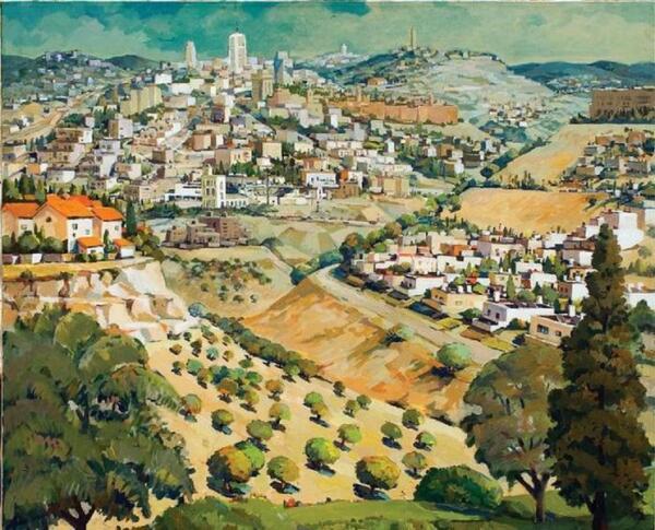 Иерусалим. Вид с горы Гило, 90х100 см, 2002