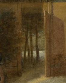 Питер де Хох, «Деревенский дом», фрагмент «Деревья на берегу речки»