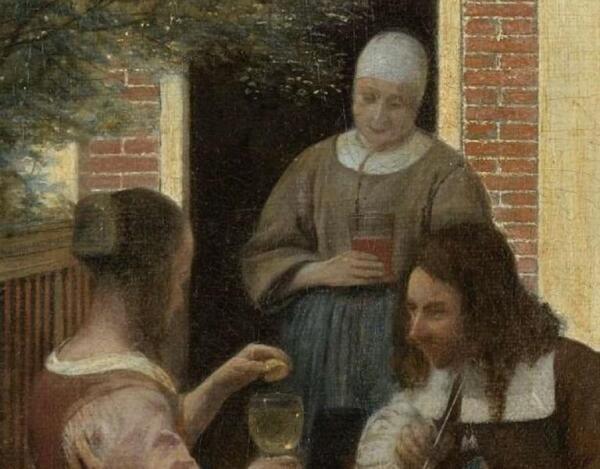Питер де Хох, «Деревенский дом», фрагмент «Разговор»