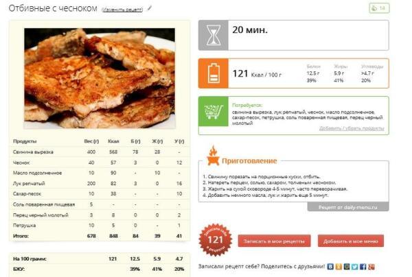 Рецепт с просчитанной калорийностью