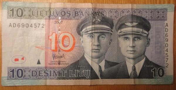 Банкнота в 10 литов. Аверс