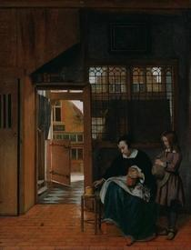 Питер де Хох. Женщина готовит бутерброд мальчику, 66х53 см, 1660, J. Paul Getty Museum Лос-Анжелес, США