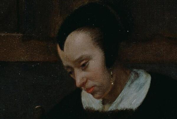 Питер де Хох. Женщина готовит бутерброд мальчику, фрагмент «Голова женщины»