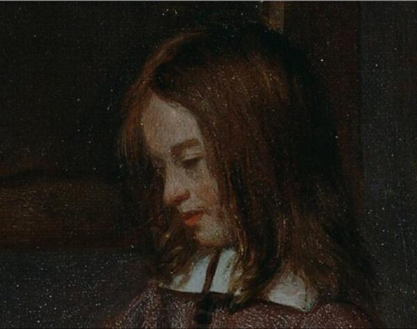 Питер де Хох. Женщина готовит бутерброд мальчику, фрагмент «Голова мальчика»