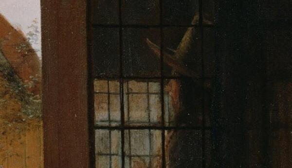 Питер де Хох. Женщина готовит бутерброд мальчику, фрагмент «Голова мужчины за окном»