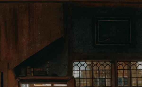 Питер де Хох. Женщина готовит бутерброд мальчику, фрагмент «Остатки прежней жизни книги и картина»