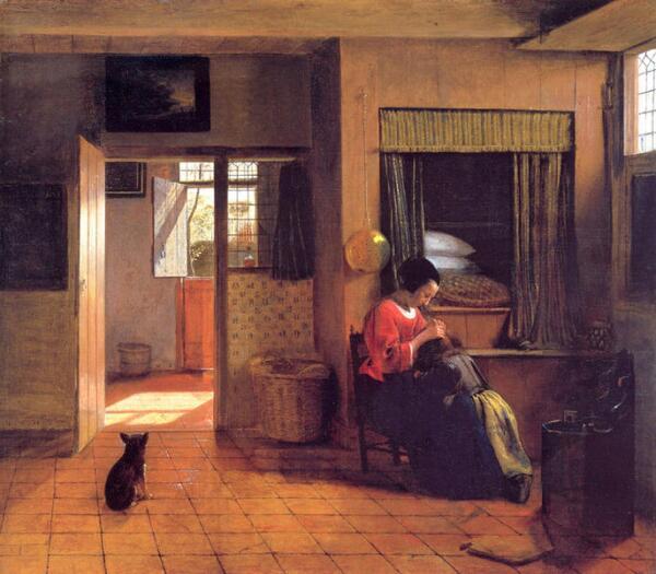 Питер де Хох, Мать и ребенок, уткнувшийся в колени,  1658, 52.5 x 61 см, Rijksmuseum, Амстердам, Нидерланды