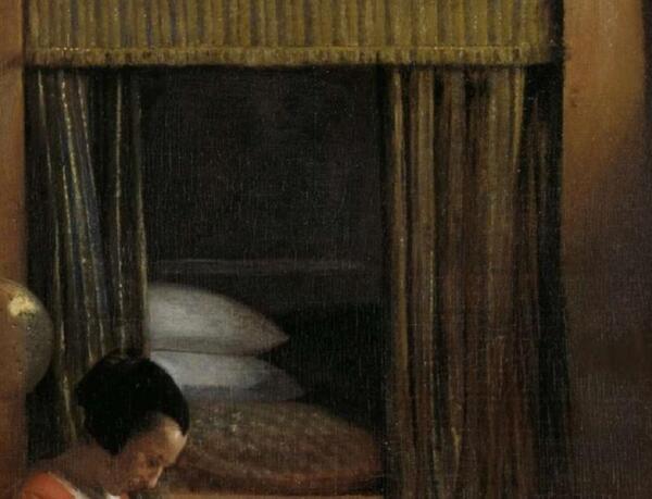 Питер де Хох, Мать и ребенок, уткнувшийся в колени,  фрагмент «Альков»