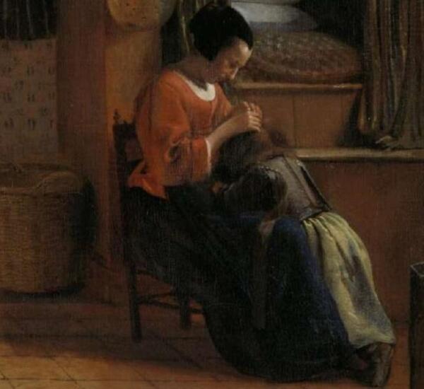 Питер де Хох, Мать и ребенок, уткнувшийся в колени, фрагмент «Одежда»