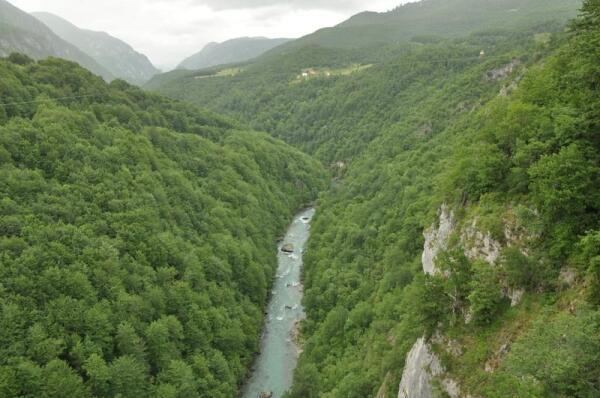 Протяженность каньона реки Тара - 82 км