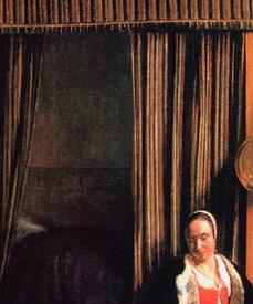 Питер де Хох, У колыбели: женщина шнурует корсет, фрагмент «Стенка алькова»