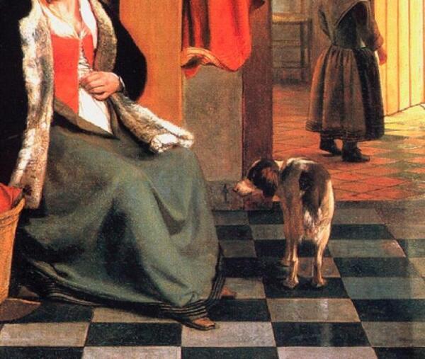 Питер де Хох, У колыбели: женщина шнурует корсет, фрагмент «Панелька с рисунком»