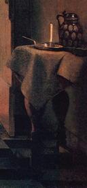 Питер де Хох, У колыбели: женщина шнурует корсет, фрагмент «Столик с подсвечником»