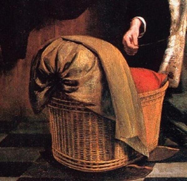 Питер де Хох, У колыбели: женщина шнурует корсет, фрагмент «Колыбель»